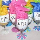 Initial Hand Painted Goblets Any color choice available also Wine glasses or Beer Pilsners