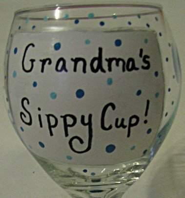 Grandmas Sippy Cup Hand Painted Wine Glass In Blue
