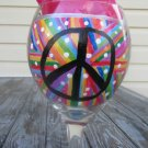 Peace Sign hand painted wine glass