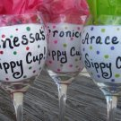 Any Name Hand painted wine glass with Polkadots