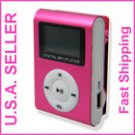 New Pink Mini MP3 Player W/ LCD Screen Clip Micro SD TF Slot