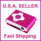 Pink Cross Shape Mini Clip Mp3 Player Support 8 GB Micro SD Card