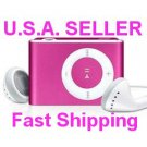 2GB Mini Metal Clip Mp3 Player Support TF/ Micro SD Card  PINK