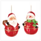 #14421 Santa And Snowman Bell Ornaments
