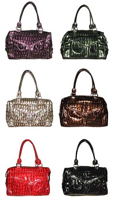 Croco Print Top Zip Bag