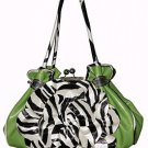 Exotic Zebra Flower Kiss Lock Bag