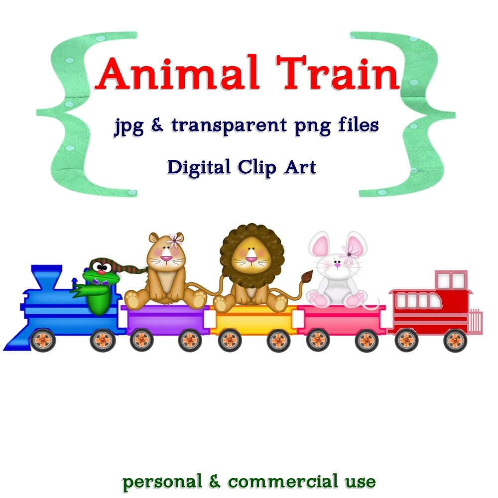 All Aboard Animal Train Clip Art - PNG and Jpeg Digital Files - Piggles Printables no. 005
