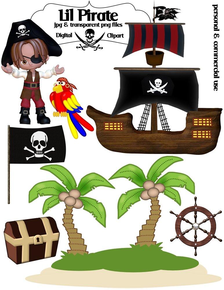 Arrggh Matey Lil Pirate Clip Art - Jpeg & Transparent Png Files - Piggles Printables no. 006