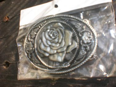 Rose / Flower / Floral Design Belt Buckle