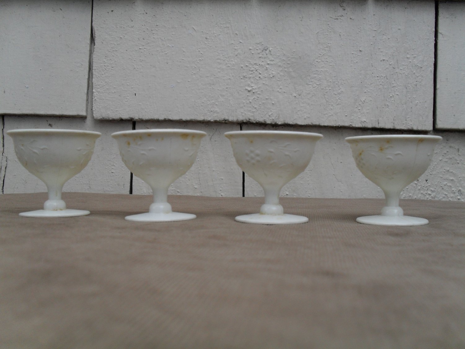 Set of 4 Vintage Plastic Fancy Cups Toy Dishes