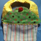 Polka Dot, Yellow, Striped Cupcake Bib