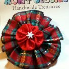 Christmas Plaid Flower Lapel Pin
