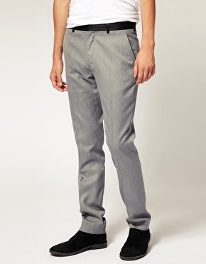 Slim Fit Tux Grey Trousers