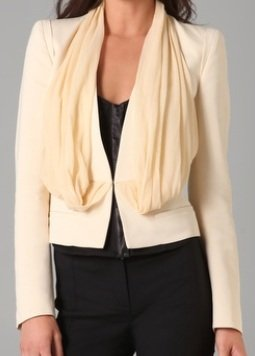 Deep V Blazer with Chiffon Overlay