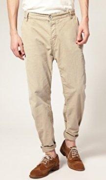 Drop crotch chino trousers