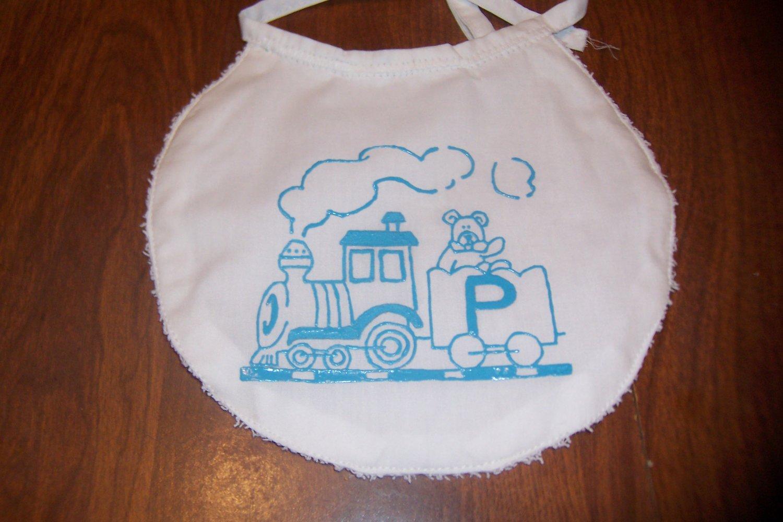 Toy Train Monogrammed Bib