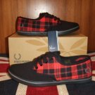 Fred Perry Black Koko Canvas Red Tartan Check Plimsolls