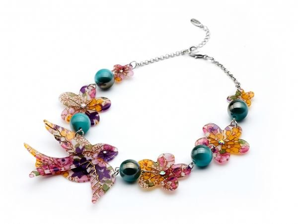 Swallow Floral Acrylic Pink Bead necklace