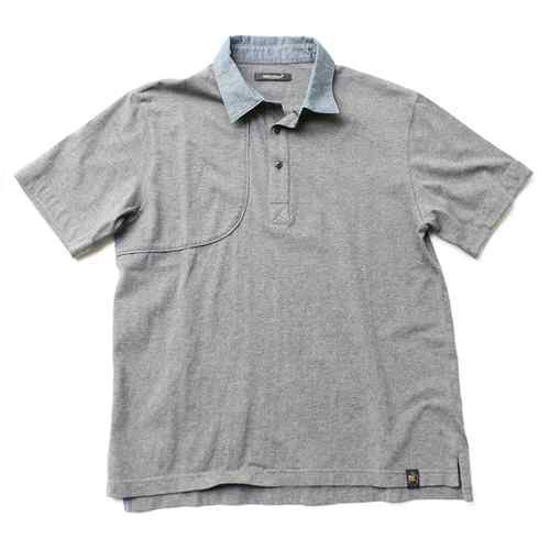 One True Saxon Tedgewood Chambray Collar Polo Shirt Charcoal Marl BNWT RRP £50