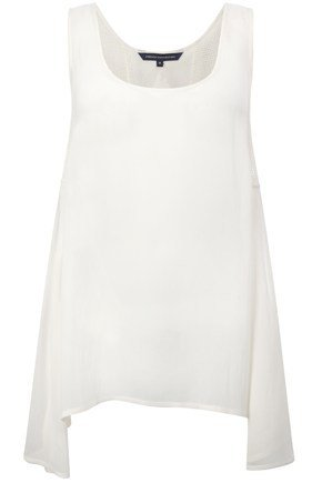 French Connection Tank Army Oversize Vest Top White Dipped Hem BNWT RRP£47 8-14