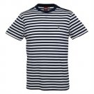 Merc Benson Navy White Breton Stripe T-Shirt Shoulder Button Detail Mod Indie