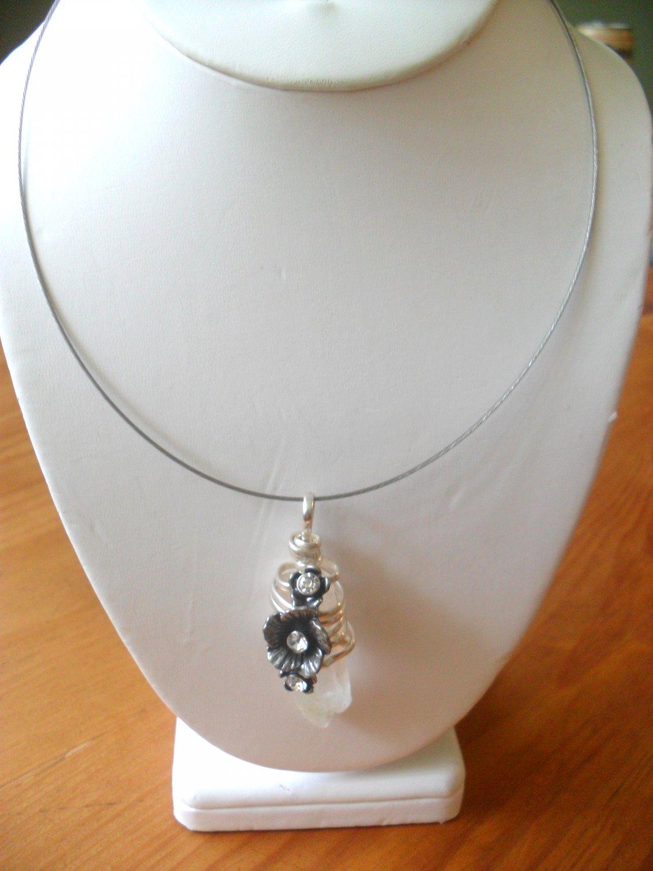 925 silver and white quartz PENDANT