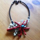 White Turquoise and Coral necklace