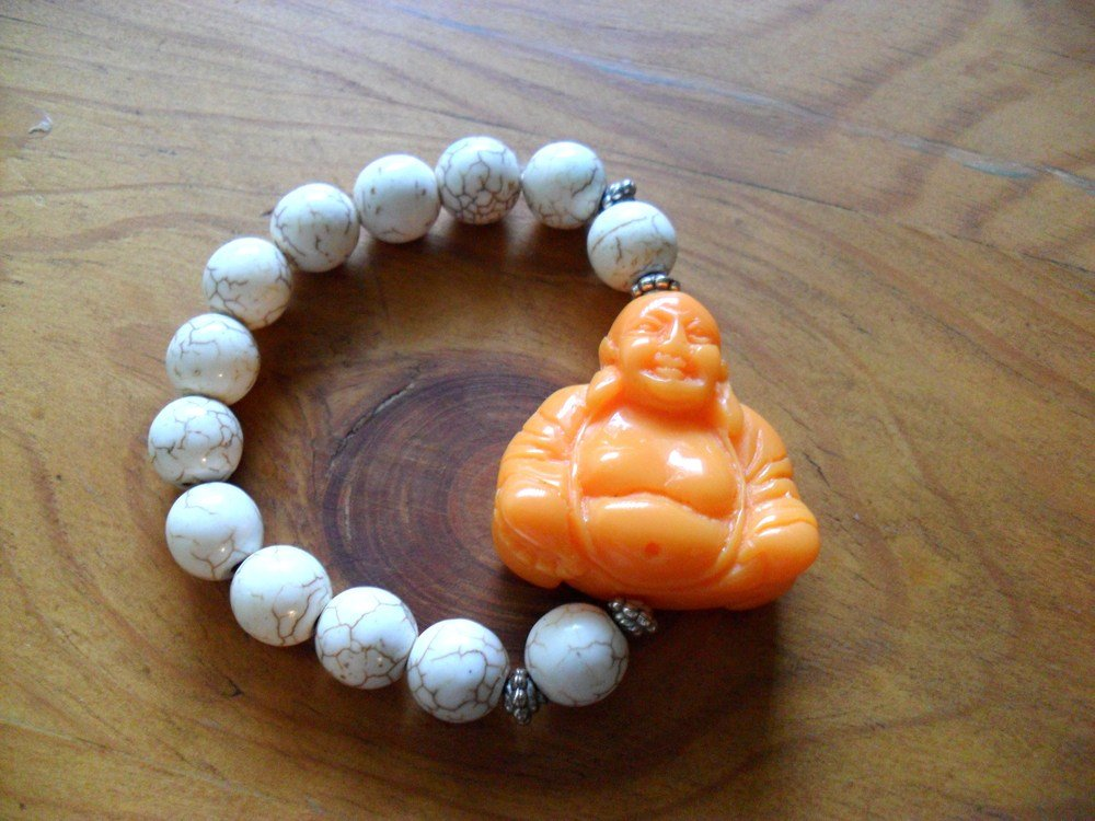 Orange Buddah and white turquoise