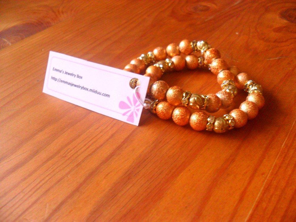 Orange / Golden foil beads