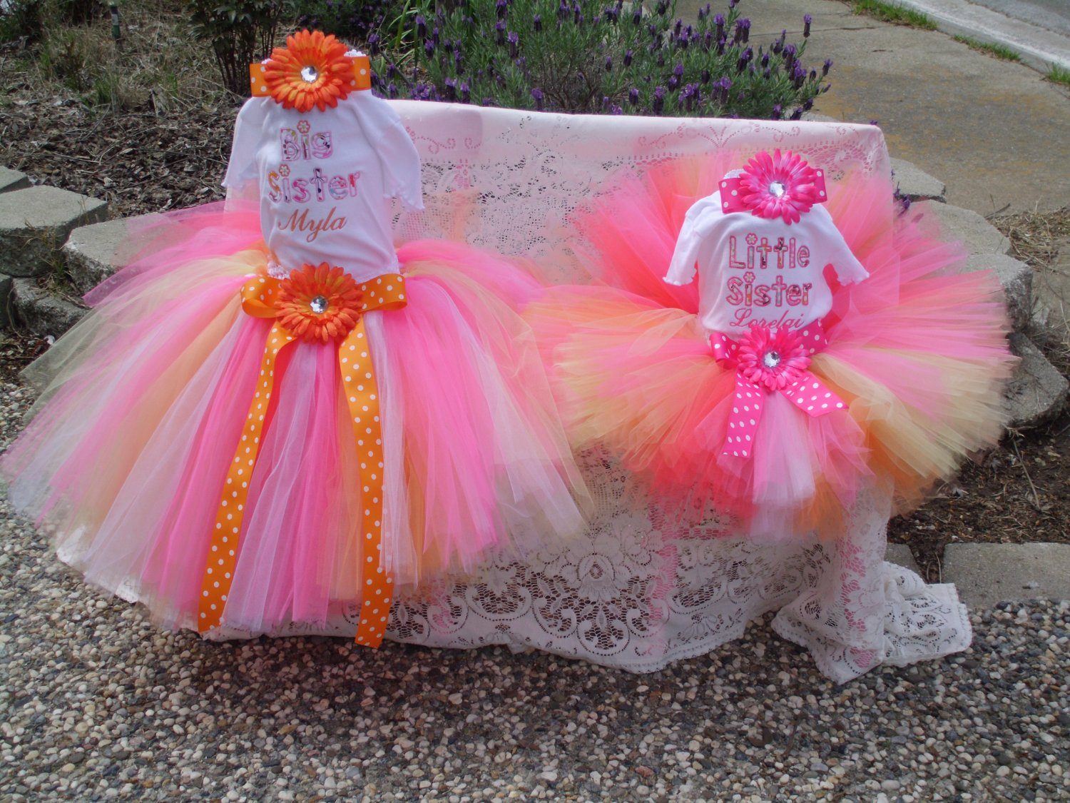 Big Sister and Little Sister Embroidered Shirt and matching sunset tutus