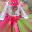 Butterfly Birthday Tutu 3 piece set: Tutu, embroidered shirt, headband