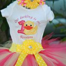 Rubber Duckie Birthday Tutu 3 piece set:embroidered shirt, tutu, headband