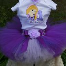 Repunzel Birthday Tutu 3 peice set: embroidered shirt, tutu, headband
