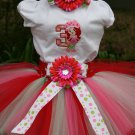 Strawberry Shortcake Tutu Birthday 3 piece set: embroidered shirt, tutu, headband
