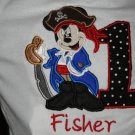 Mickey Pirate Embroidered Bithday Shirt