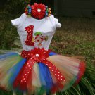 Clown Tutu Birthday 3 piece set: embroidered shirt, tutu, headband