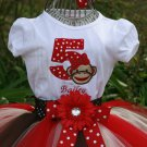 Sock Monkey Tutu Birthday 3 piece set: embroidered shirt, tutu, headband