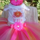 Pumpkin Carriage Birthday tutu 3 piece set: embroidered shirt, tutu, headband