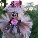 Owl Tutu Birthday 3 piece set: Look Whoo's One embroidered shirt, tutu, headband