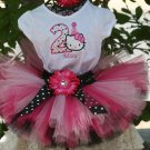 Hello Kitty with birthday hat Tutu Birthday 3 piece set: embroidered shirt, tutu, headband