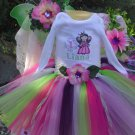Fairy Tutu Birthday 4 piece set: emboidered shirt, tutu, wings, headband