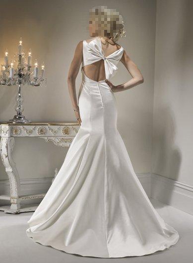 Back Bowknot Embellished Sexy Design Wedding Bridal Dress