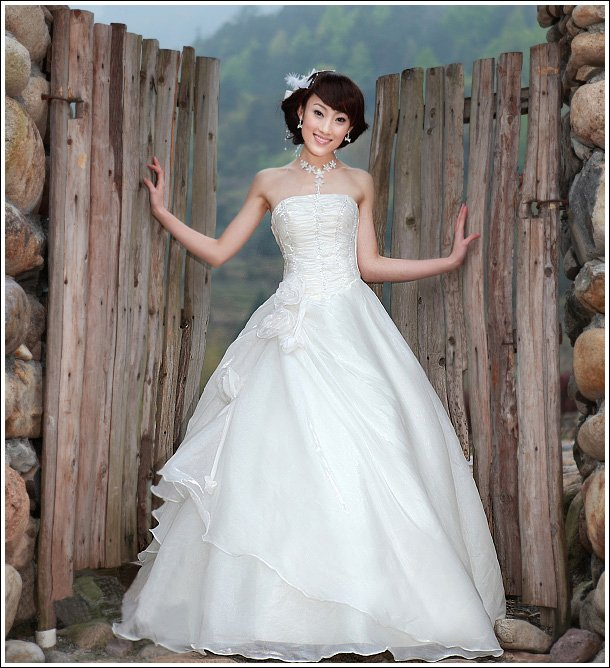 Custom Made- Pleated Flower Embellished Layered Wedding Dress Bridal Prom Gown Ball