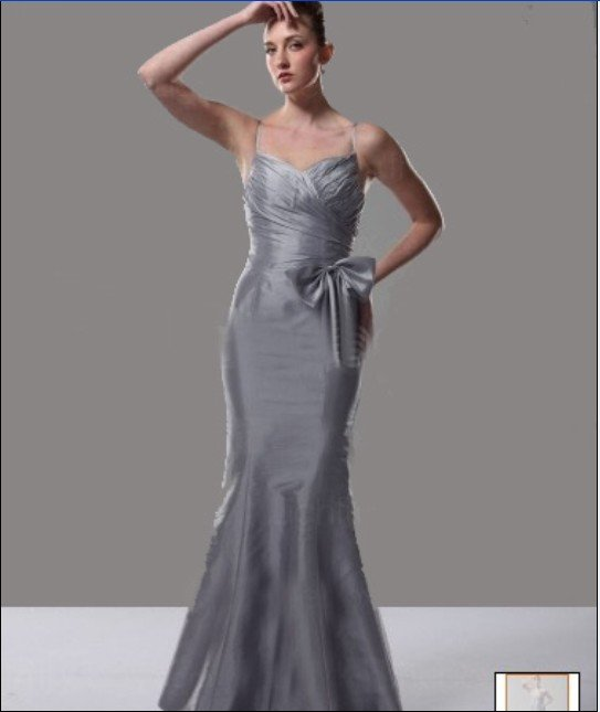 Custom Made- Bowknot Pleated Chest Spaghetti-straps Wedding Bridal Bridesmaid Ball Dress Grey