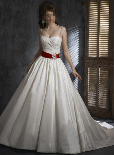 Custom Made- Back Bowknot Embellished Spaghetti Strap Wedding Bridesmaid Ball Dress