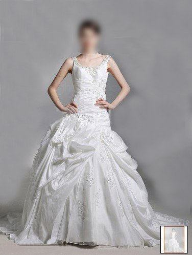 Custom Made- Backless Beaded Embroidery Court Train Wedding Dress Bridesmaid Ball Prom Gown
