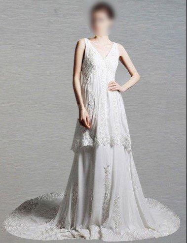 Custom Made- Backless V-neck Court Train Wedding Dress Bridesmaid Ball Prom Gown