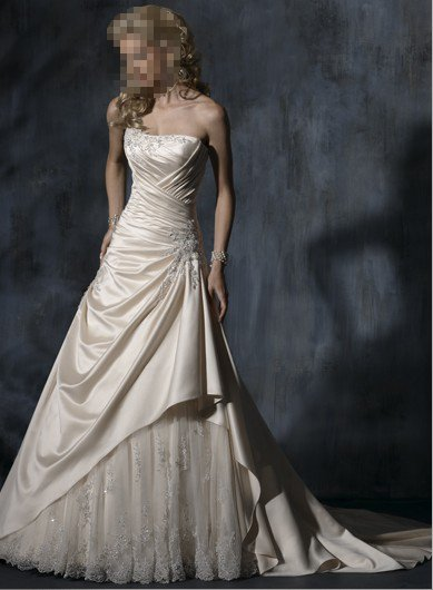 Custom Made- Beads Embellished Pleated Strapless Wedding Dress Cocktail Bridesmaid Ball Prom Gown S4