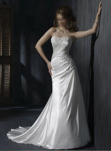 Custom Made- Beads Embellished Pleated Strapless Wedding Dress Cocktail Bridesmaid Ball Prom Gown S5