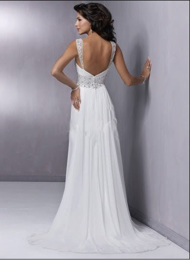 Custom Made- Beads Embellished Spaghetti Strap Wedding Dress Cocktail Bridesmaid Ball Prom Gown S6